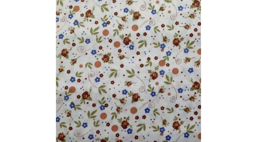 821ba65697 Apró virágos narancsos-kék színű pamutvászon - 100% Pamut